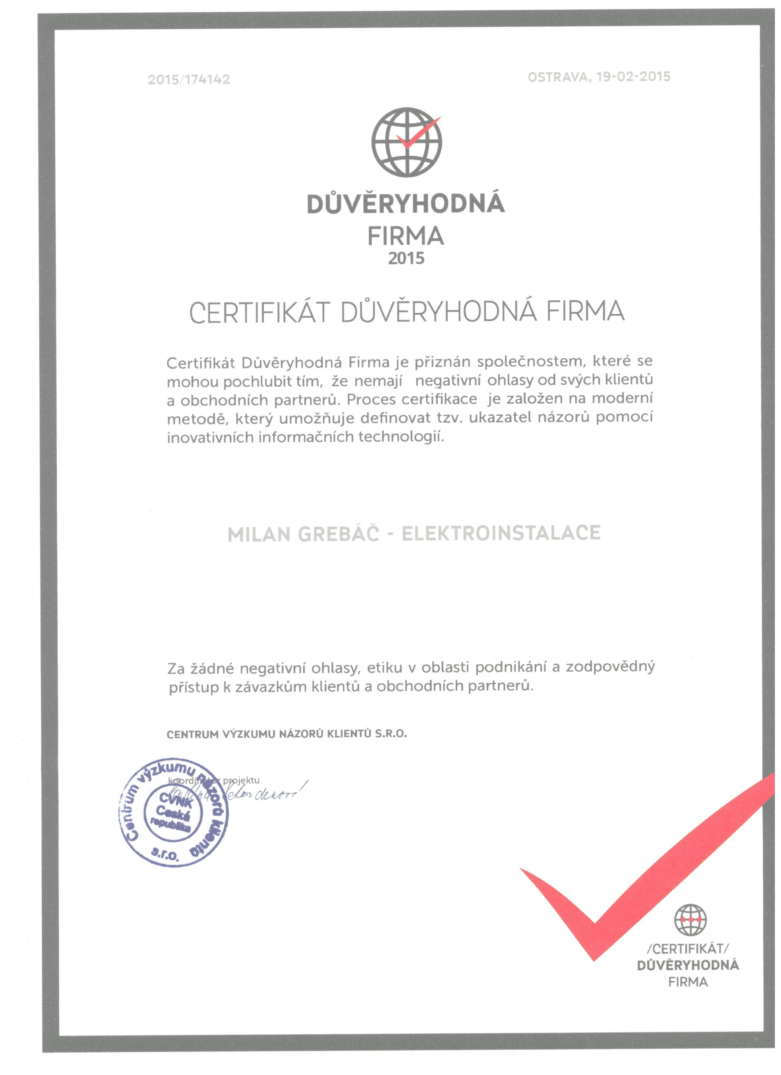 Certifikát důvěry Důvěryhodná firma
